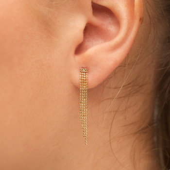 Bijou femme boucles d'oreilles chaine boule facetée dégradée