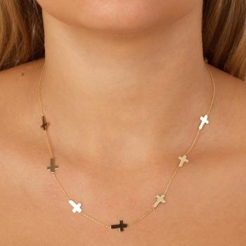 Bijou femme collier 7 croix plates
