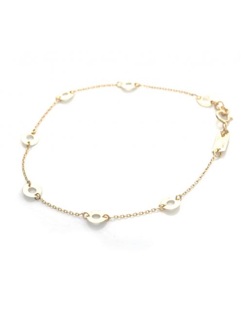 Bijou femme bracelet 5 petits ronds fil grunge ajourés en Or jaune ou Or blanc