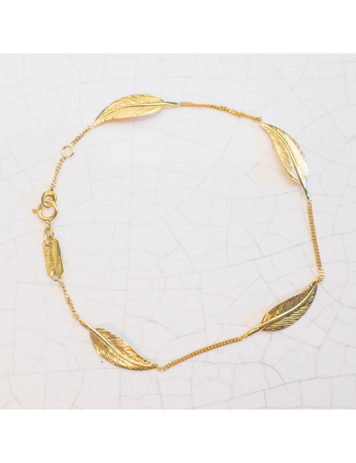 Bracelet 5 grandes plumes Or jaune ou Or blanc