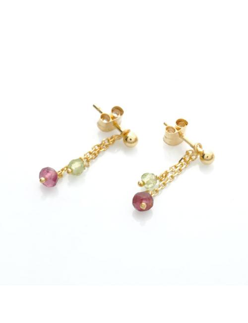 Bijou femme boucles d'oreilles 2 pendants tourmaline rose et péridot en Or jaune ou Or blanc