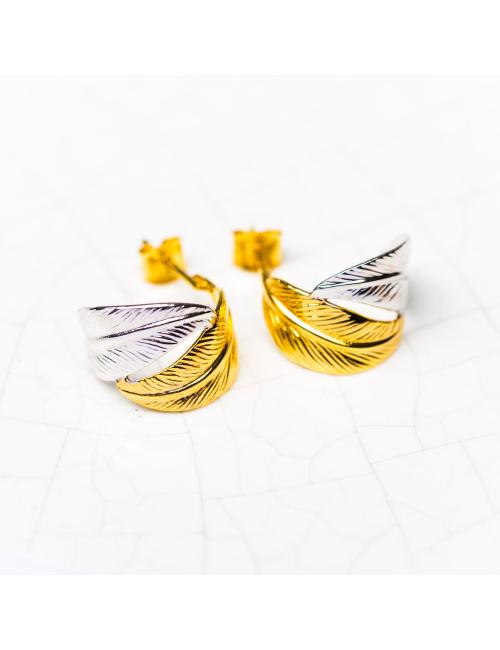Créoles plumes Or bicolore